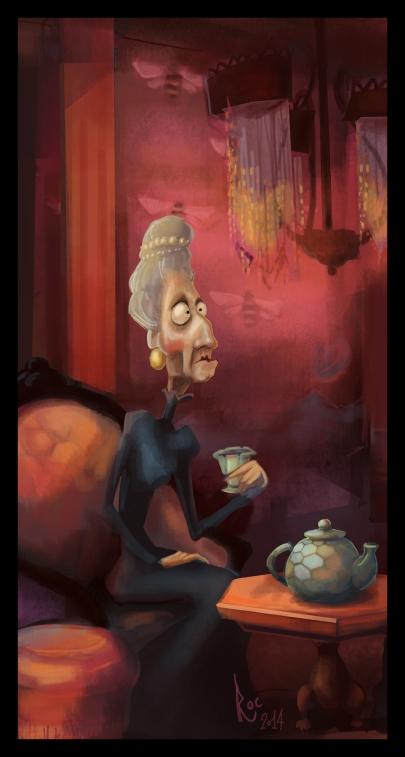 señora tomando el té
